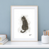 Cat, Tabby Cat, Pet, Art, Print, Illustration, Cats, Unframed, Different sizes