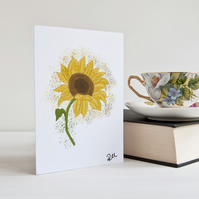Sunflower Card, Greeting Card, Flower, Notecard, Personalisation available