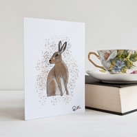 Hare Card, Hare, Greeting Card, Art, Notecard, Wildlife, Animal, Personalised