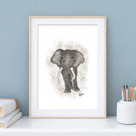Elephant, Animal, Art, Print, Illustration, Unframed, Gift, Different sizes
