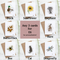 Mixed Card Pack, Greeting Cards, Animal, Nature, Notecards, Choose Any Three