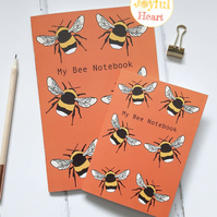 Bee, Bees, Bumble Bee, Pattern, Notebooks, Journals, Set of 2, Lined paper
