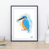 Kingfisher, Bird, Gouache, Art, Print, Illustration, Different sizes available
