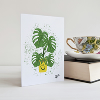 Cheese Plant, Card, Monstera, Plant, Illustrated, Greetings Card, Personalised