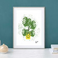 Cheese Plant, Art Print, Illustrated, Art, Monstera, Swiss Cheese, Plant, Gift