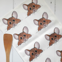Mouse Tea Towel, Mouse, Illustrated, Animal, Tea Towel, Kitchen Towel, Gift