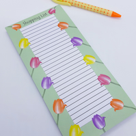Tulip Shopping List, Tulips, Flowers, Magnetic, Fridge, Notepad, Jotter, Notes