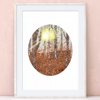 Forest Woodland Sunshine, Art Print, Gouache, Illustration, Unframed, Gift