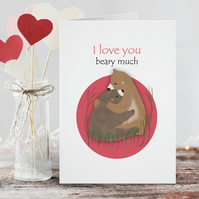 I Love You Beary Much, Valentine's, Anniversary, Bears Hugging, Cute, Love, Card