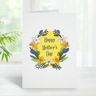 Mother's Day Card, Spring Flowers, Floral, Happy Mother's Day, Card for Mum.