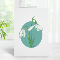 Snowdrop Card, Snowdrops, Spring,Greeting Card, Blank, Personalisation Available