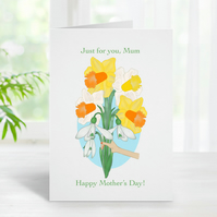 Mother's Day Card, Spring Flowers, Daffodils, Snowdrops, Happy Mother's Day