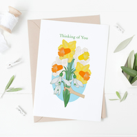 Thinking of You, Spring Flowers Card, Daffodils, Snowdrops, Blank, Greeting Card