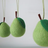 Merino Wool Needle Felted Christmas Pear Decoration