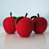 Merino Wool Needle Felted Christmas Apple Decoration