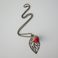 Needle Felted Acorn Leaf Necklace