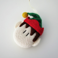 100% Merino Wool Needle Felted Christmas Elf Decoration