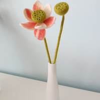 Merino Wool Needle Felted Single Stem Orchid with Bud