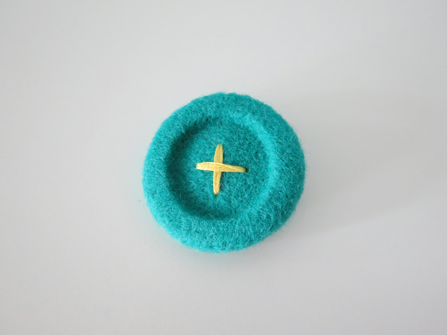 Needle Felted 'Button' Brooch- Jade Blue
