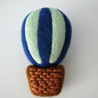 Needle Felted 'Hot Air Balloon' Brooch-Royal Blue