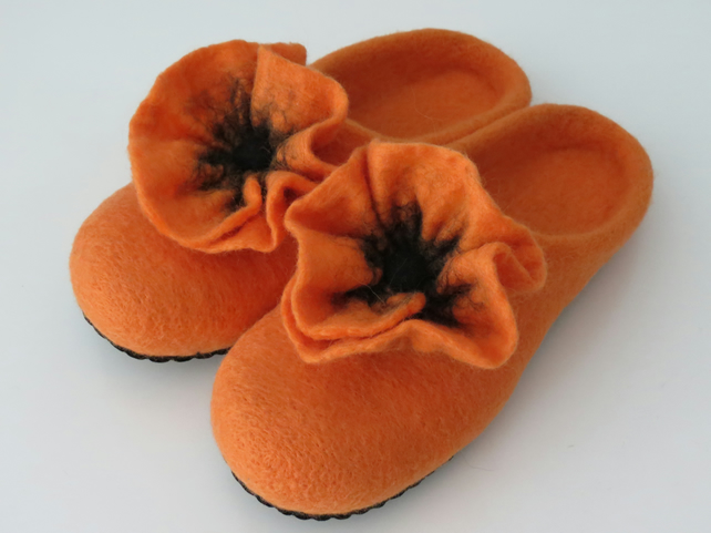 Merino Felted Poppy Slippers-Tangerine Orange 25.5cm 6-6.5 (UK- Regular Fitting)