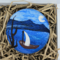 Merino Wool Needle Felted Landscape Brooch
