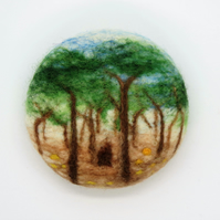 Merino Wool Needle Felted Landscape Brooch-Summer