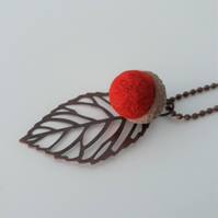 Needle Felted Acorn Leaf Necklace-Burnt Orange