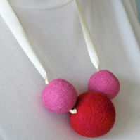 Needle Felted Trio Necklace
