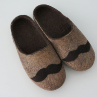 SALE-Handmade Merino Wool Men's Slippers- 26.5cm UK 8 (Regular Width)