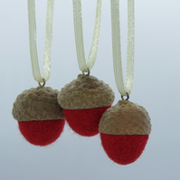Set of 3 Needle Felted Acorns (Small) Hanging Decorations