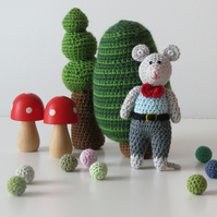 Crocheted Boy Mouse- Grey Trousers