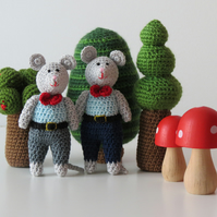 Crocheted Boy Mouse- Navy Trousers