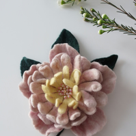 Merino Wool Needle Felted Flower Brooch