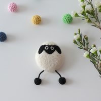 Merino Wool Needle Felted Lamb Brooch