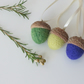 Set of 3 Needle Felted Acorns (Large) Hanging Decorations