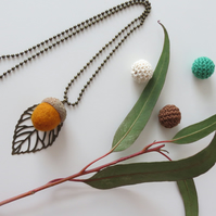 Needle Felted Acorn Leaf Necklace-Warm Beech