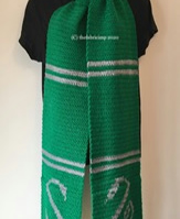Crocheted Scarf Inspired by Slytherin House with Snake Motif
