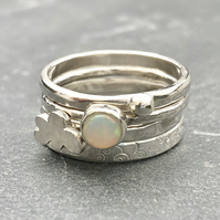 Cloud Opal Stack Ring.                       Stack ring, Opal ring, wide silver