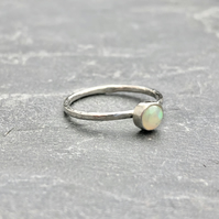 Sunrise Opal Ring.      Opal ring, stack ring, delicate ring, stone silver ring.