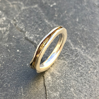 Golden River Ring.       Freeform ring, silver and gold ring, wavy ring