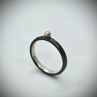 Olde Gold Dot Ring . Mixed metals, gold ball ring, oxidised ring.