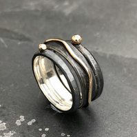 Night River Stack Ring. Stack Ring. Oxidised ring. Wide ring. Gold and silver.