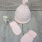 Hand Knitted Newborn Baby Hat and Mitt Set in Baby Pink