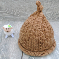Hand Knitted Newborn Baby Hat in Mocha