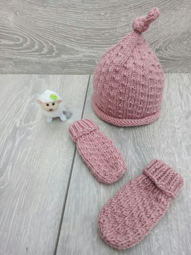Hand Knitted Baby Hat and Mitt Set in Dusty Pink, Newborn, 0-3 months