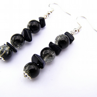Black Glass Crackle bead and stone chip Earrings, purple, Drop of 3.8 cm