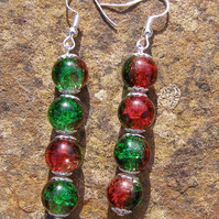 Candy Apple Earrings, red and green, Crackle Glass beads, Drop of 4.5cm Handmade