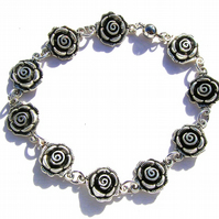 Rose Flower bracelet, Silver colour, 21cm long, magnetic clasp, gift idea
