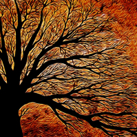 Digital Print A4 , Flame Tree, From an Acrylic Painting by Chris Pointer